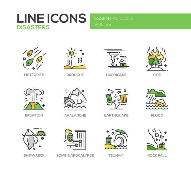 illustrations, cliparts, dessins animés et icônes de disasters - line design icons set - desastre natural