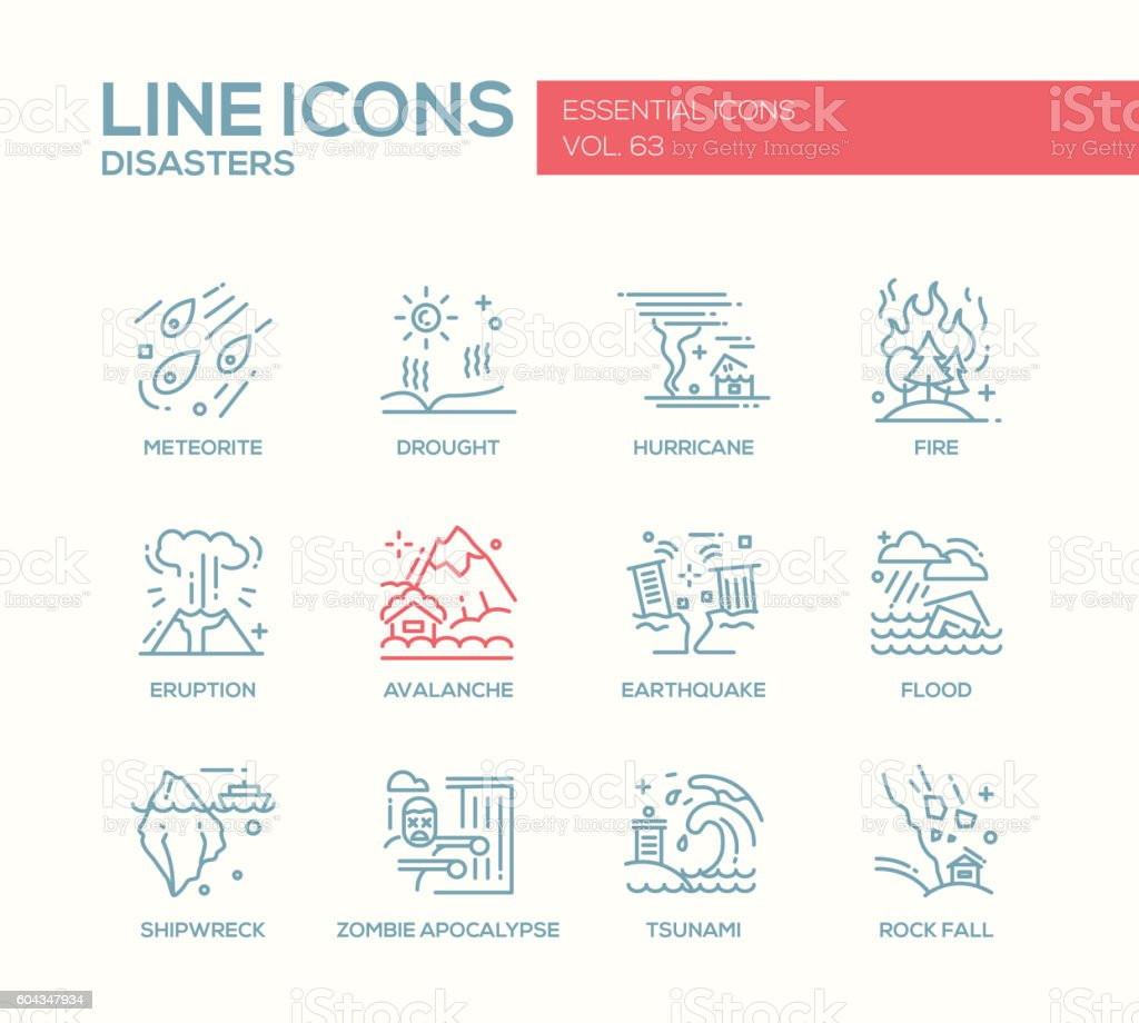Disasters - line design icons set vector art illustration