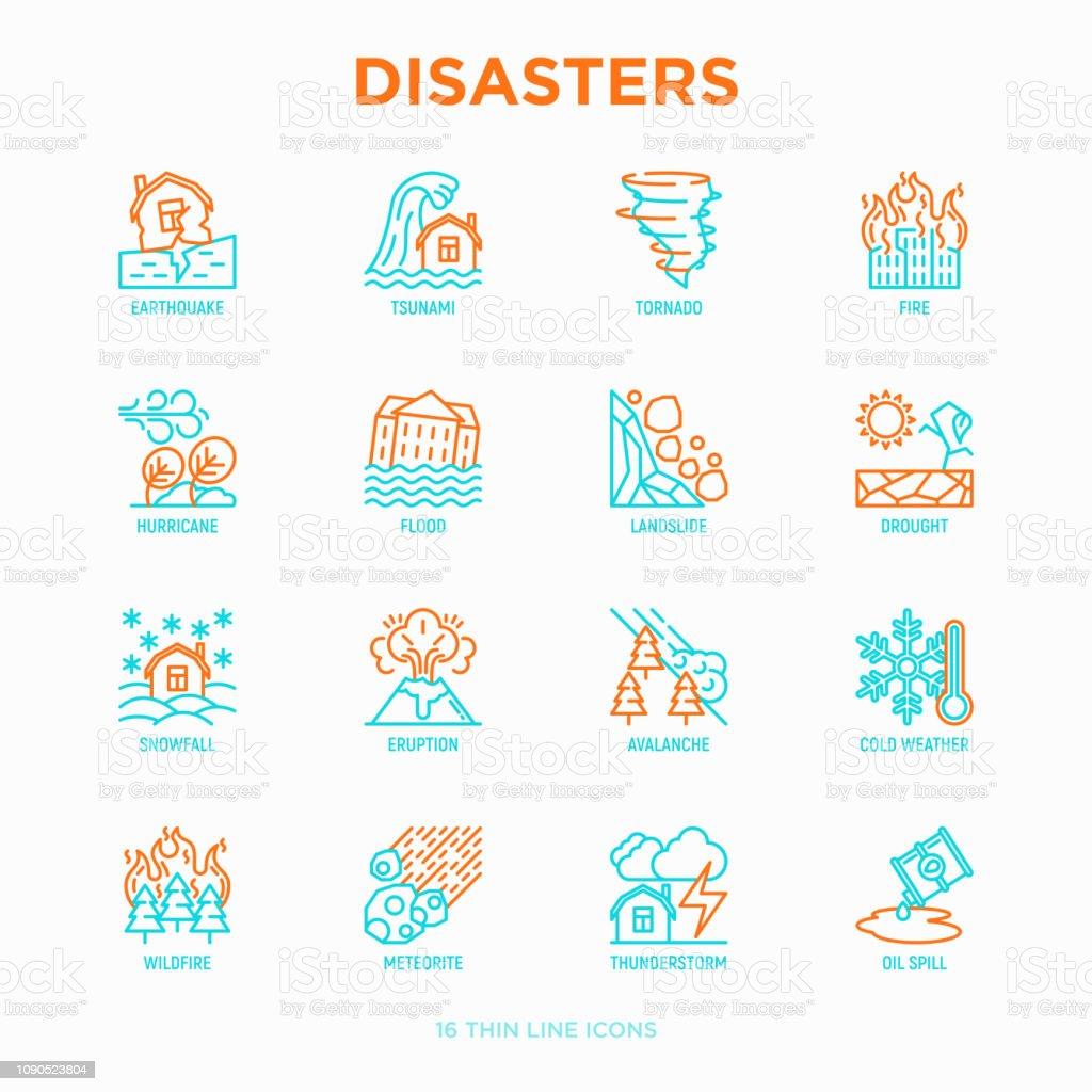 Rampen dunne lijn iconen set: aardbeving, tsunami, tornado, orkaan, overstroming, aardverschuivingen, droogte, sneeuwval, uitbarsting, Onweer, lawine, meteoriet, wildvuur. Moderne vectorillustratie. - Royalty-free Aardbeving vectorkunst