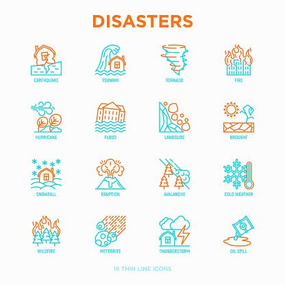 Rampen Dunne Lijn Iconen Set Aardbeving Tsunami Tornado Orkaan Overstroming Aardverschuivingen Droogte Sneeuwval Uitbarsting Onweer Lawine Meteoriet Wildvuur Moderne Vectorillustratie Stockvectorkunst en meer beelden van Aardbeving