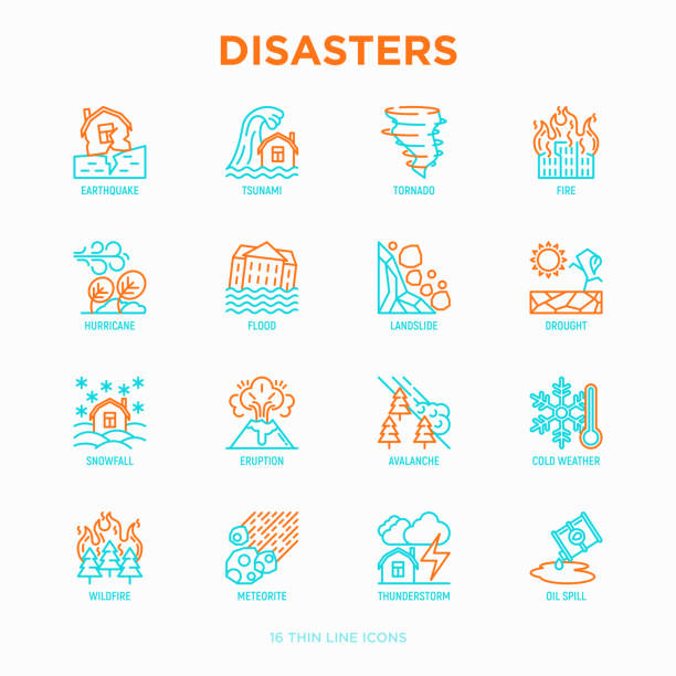 Disasters thin line icons set: earthquake, tsunami, tornado, hurricane, flood, landslide, drought, snowfall, eruption, thunderstorm, avalanche, meteorite, wildfire. Modern vector illustration. Disasters thin line icons set: earthquake, tsunami, tornado, hurricane, flood, landslide, drought, snowfall, eruption, thunderstorm, avalanche, meteorite, wildfire. Modern vector illustration. tsunami stock illustrations