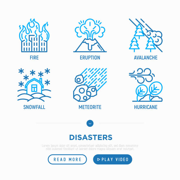 Disasters thin line icons set: fire, hurricane, snowfall, eruption, meteorite, avalanche. Vector illustration. Disasters thin line icons set: fire, hurricane, snowfall, eruption, meteorite, avalanche. Vector illustration. avalanche stock illustrations