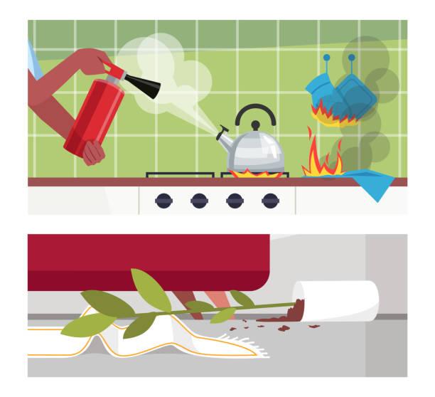 ilustrações de stock, clip art, desenhos animados e ícones de disastrous home occurrences semi flat vector illustration set - fail cooking