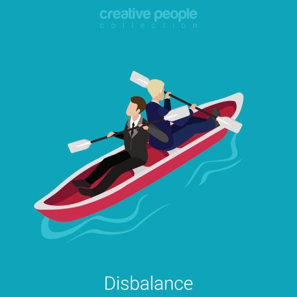 disbalance misunderstanding flat 3d isometry isometric business concept web vector illustration. two businessmen rowing opposite sides in one boat. creative people collection. - communication problems stock illustrations, clip art, cartoons, & icons