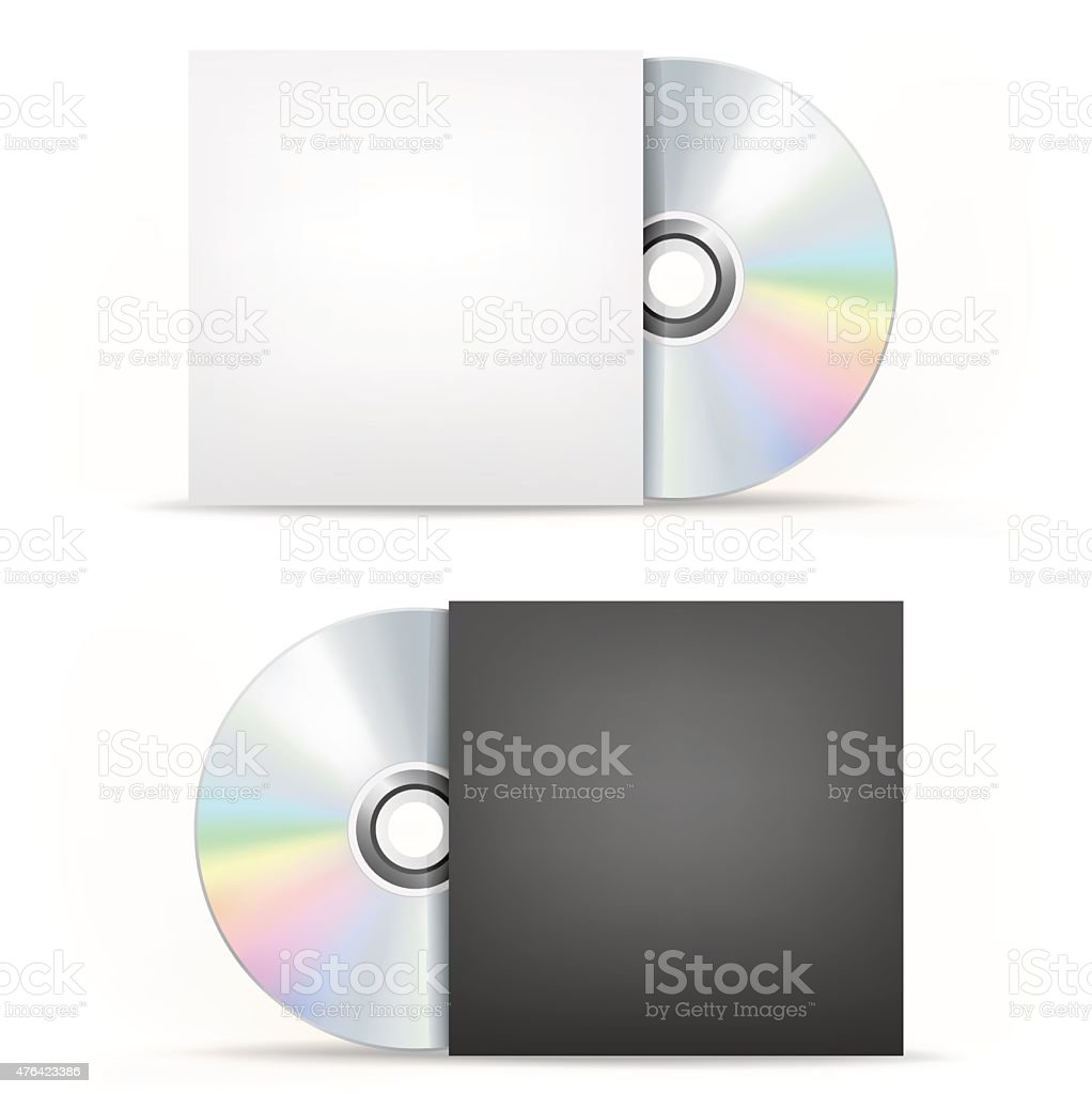 CD-DVD disc and cover vector art illustration