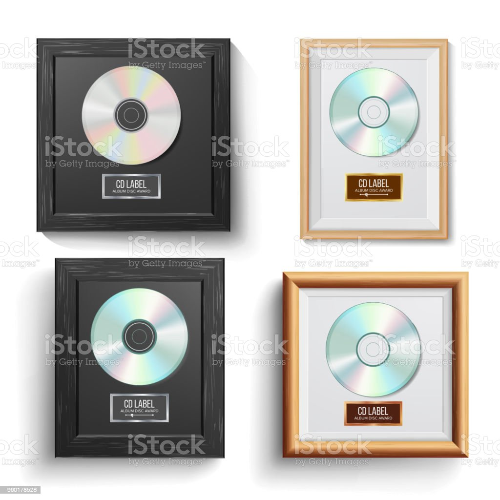 CD Disc Award Set Vector. Modern Ceremony. Best Seller. Musical Trophy. Realistic Frame, Album Disc, Brick Wall. Illustration vector art illustration