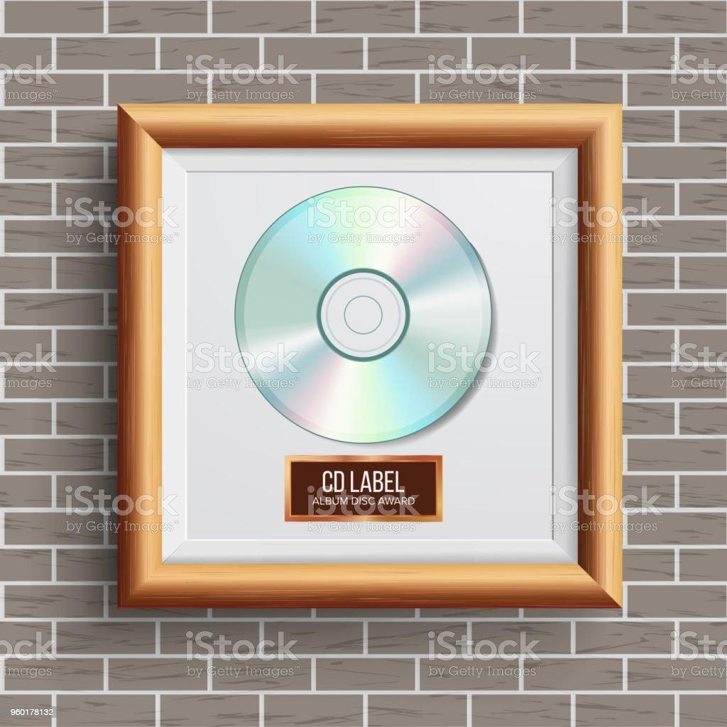 CD Disc Award Vector. Musical Trophy. Realistic Frame, Album Disc, Brick Wall. Illustration vector art illustration