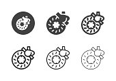 Disc Brake Icons Multi Series Vector EPS File.