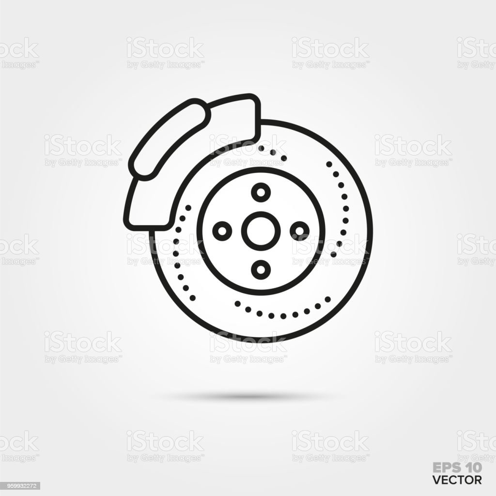 Disc brake vector icon vector art illustration
