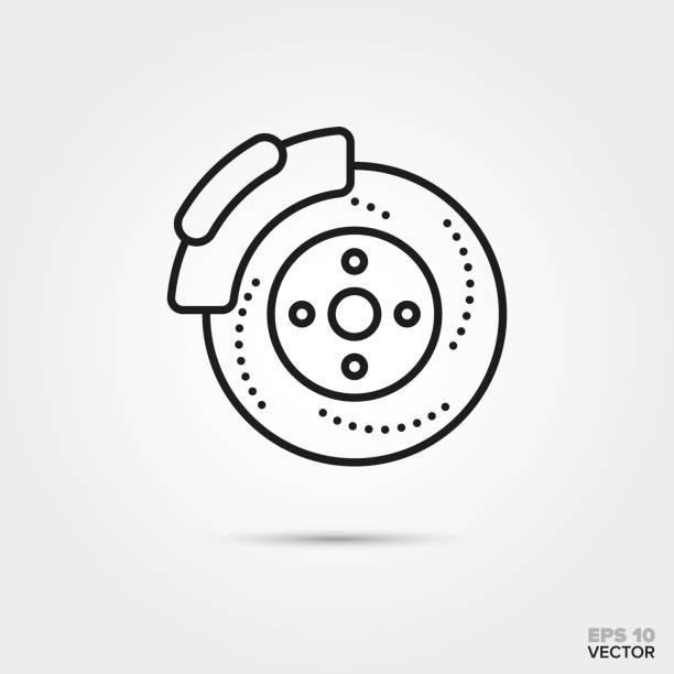 scheibenbremse vektor icon - bremse stock-grafiken, -clipart, -cartoons und -symbole