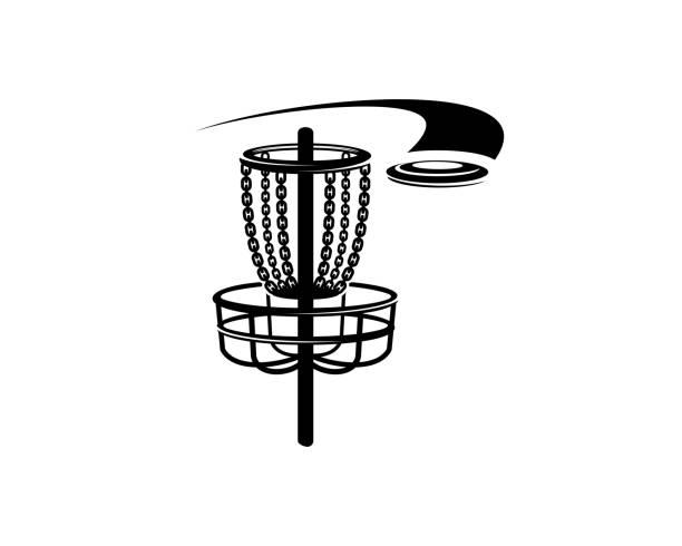 ilustrações de stock, clip art, desenhos animados e ícones de disc golf basket and disc golf - golf
