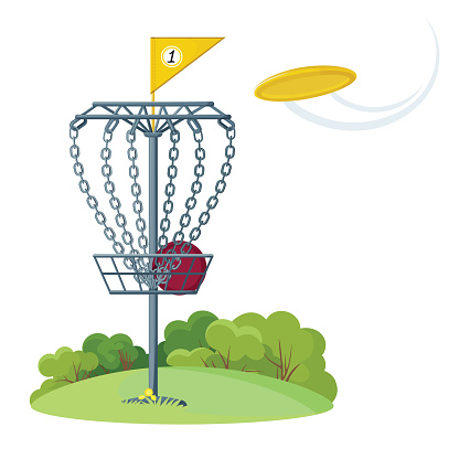 Disc golf basket with yellow flying frisbee disk