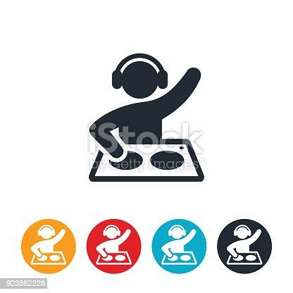 An icon of a disc jokey or DJ.