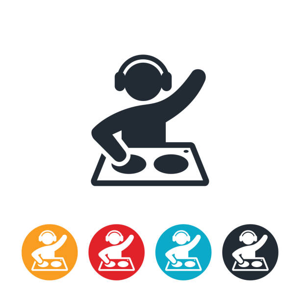 stockillustraties, clipart, cartoons en iconen met disc jockey pictogram - dj