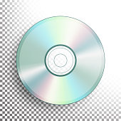 CD, DVD Disc Vector. Realistic Compact Disc Isolated On Transparent Background. Glowing Plastic Surface. Video Blue-ray, Information Data Medium Illustration
