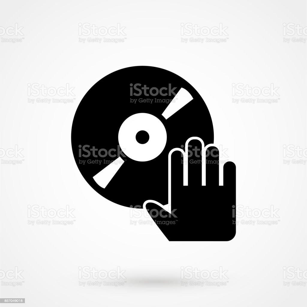 disco con el icono de dibujo de vectores dj mano aislada