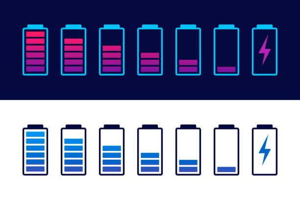 Entlastet und voll aufgeladen Akku-Smartphone. Set von Batterielade-Ladepegel-Indikatoren. Ikone isoliert auf schwarzem Hintergrund. Vector infographisch. – Vektorgrafik