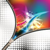 Disco abstract background with music notes covered by metallic zipper