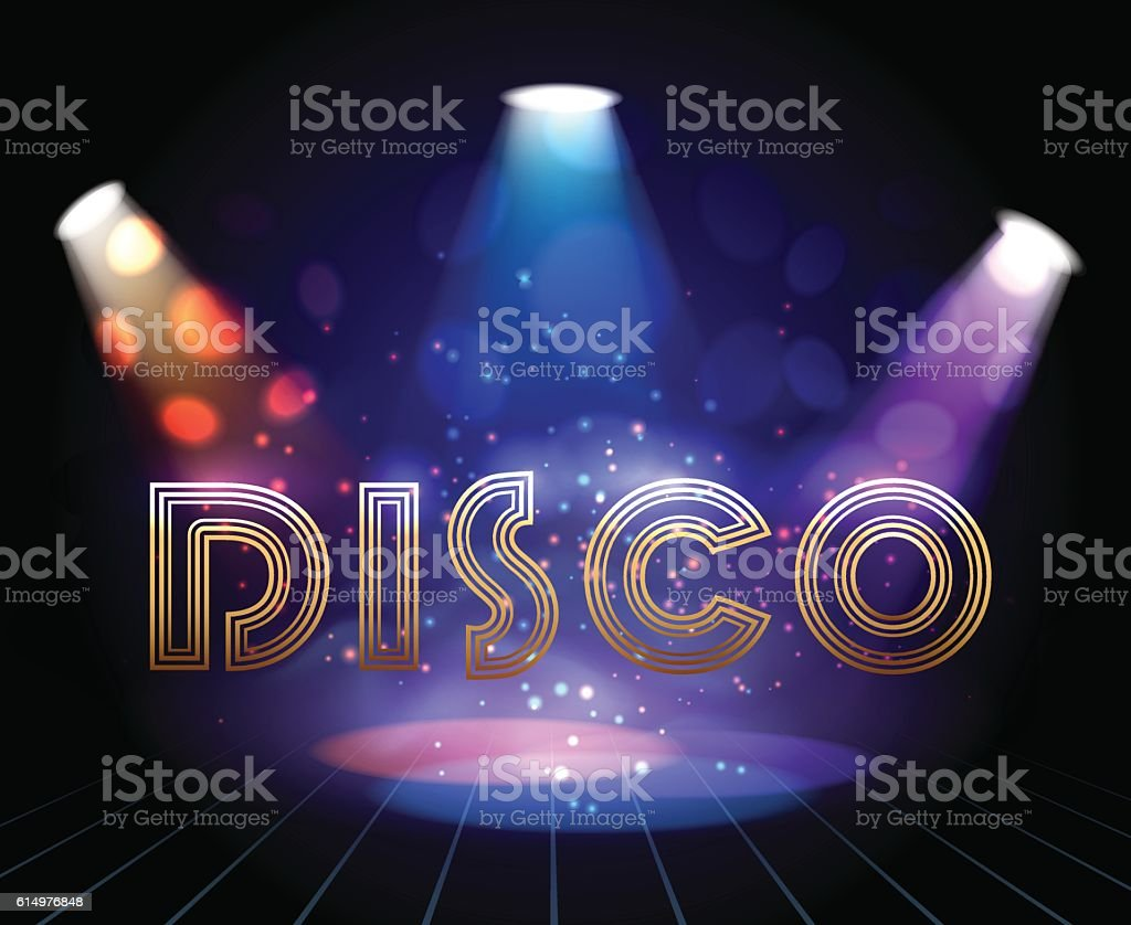 Disco background with spotlights vector art illustration