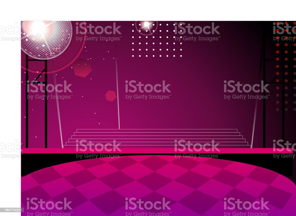Disco ball and dance floor at Nightclub vector art illustration
