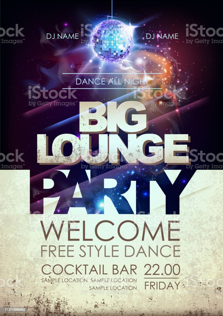 Disco ball background. Disco big lounge party poster on open space...