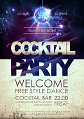 Disco ball background. Disco cocktail party poster on open space background