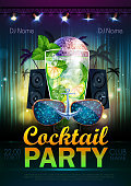 Disco ball background. Disco cocktail party poster