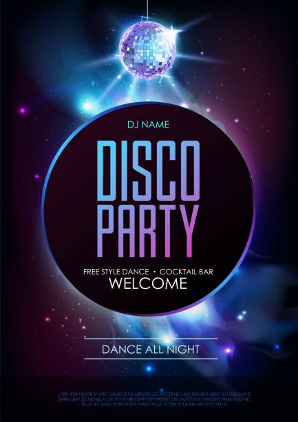 disco ball background. disco party poster on open space background. night club - dyskoteka stock illustrations