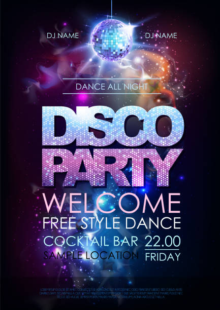 Disco ball background. Disco party poster on open space background Disco ball background. Disco party poster on open space background disco ball stock illustrations