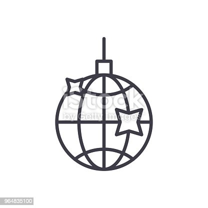 Disco Ball Black Icon Concept Disco Ball Flat Vector Symbol Sign Illustration Stock Vector Art & More Images of Art 964835100