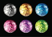 Set of Disco Balls in different colors. All disco balls are done by single gradient tone only.  Change color to the Disco Ball is easy, simply select the whole disco ball and change the gradient's color.