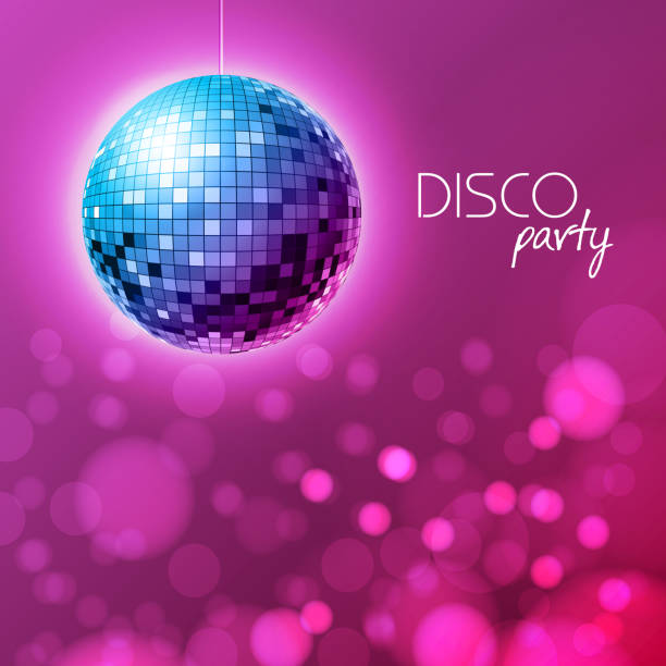 disco ball. disco ball pink background - dyskoteka stock illustrations
