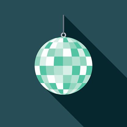 Disco Ball Flat Design 1970s Icon