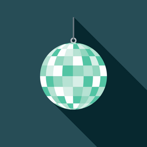 Disco Ball Flat Design 1970s Icon A set of 1970's themed icon. File is built in the CMYK color space for optimal printing, and can easily be converted to RGB. Color swatches are global for quick and easy color changes throughout the entire set of icons. disco ball stock illustrations