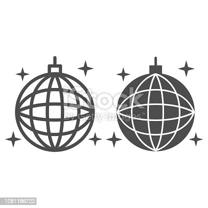 istock Disco ball line and solid icon, Sea cruise concept, sparkling party sphere decoration sign on white background, mirror disco ball icon in outline style for mobile concept, web design. Vector graphics. 1281186722