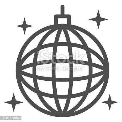 istock Disco ball line icon, Sea cruise concept, sparkling party sphere decoration sign on white background, mirror disco ball icon in outline style for mobile concept, web design. Vector graphics. 1281185849