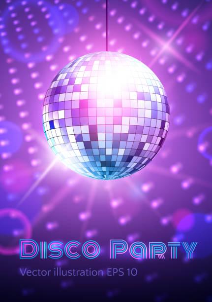 bildbanksillustrationer, clip art samt tecknat material och ikoner med disco ball on disco lights background. - dansa disco