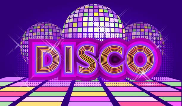 disco ball retro Disco ball with rays and sparkles, Abstract retro background for dance parties and night music shows, vector horizontal illustration in violet-golden colors. nightclub stock illustrations