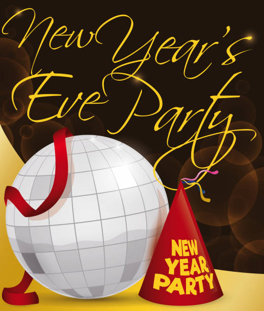 disco ball streamer and party hat for new years celebration vector art illustration