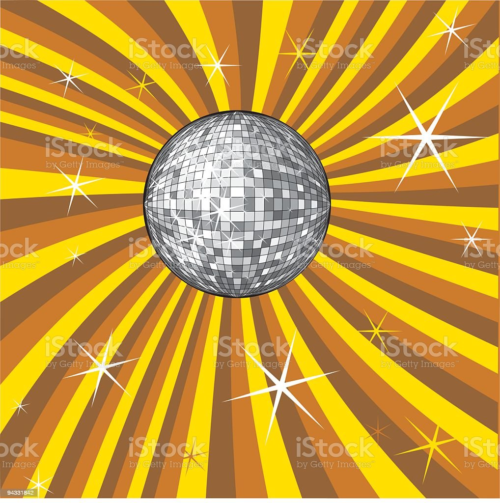 A disco ball surrounded by orange stripes vector art illustration