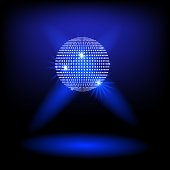 Disco ball vector background blue light. music