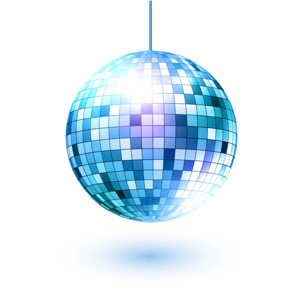 disco ball. vector illustration. isolated. - blue clipart stock illustrations