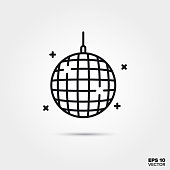 Disco ball vector line icon