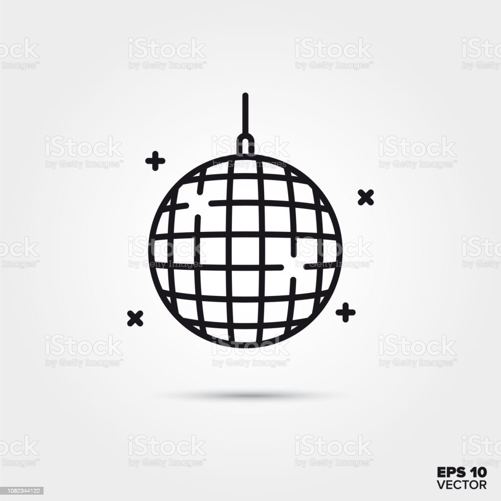 Disco ball vector line icon vector art illustration