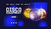 Disco ball web design banner vector illustration. Shop or store with equipment for disco show. Life begins at night. Night city entertainment and event. Contact information.