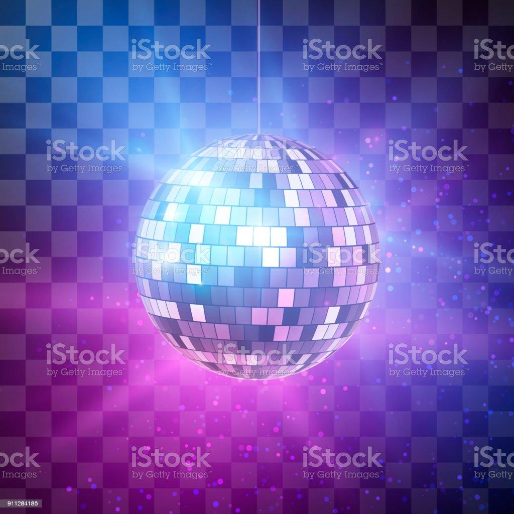 透明な背景、夜のパーティーのレトロな背景に明るい光線でディスコ ボール。ベクトル図 ロイヤリティフリー透明な背景夜のパーティーのレトロな背景に明るい光線でディスコ ボールベクトル図 - お祝いのベクターアート素材や画像を多数ご用意