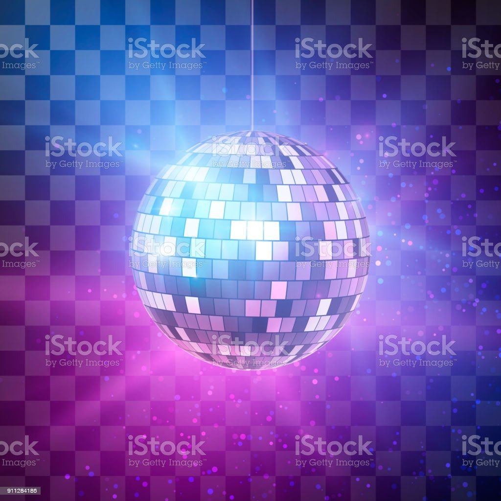 Disco ball with bright rays on transparent background, night party retro background. Vector illustration vector art illustration