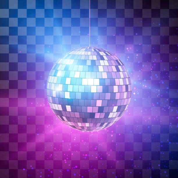 disco ball with bright rays on transparent background, night party retro background. vector illustration - dyskoteka stock illustrations