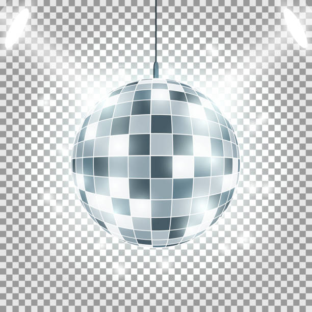 Disco ball with light rays on transparent background. Spotlights Effect. Vector image. Disco ball with light rays on transparent background. Spotlights Effect. Vector image disco ball stock illustrations