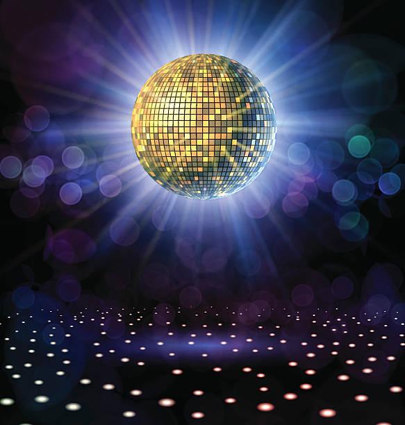Disco Ball with Rays Disco ball with rays in a nightclub. nightclub stock illustrations
